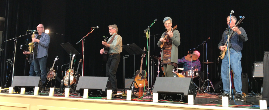 Performing with the Revolving Doors at the Qualicum Beach Civic Centre, 2019
